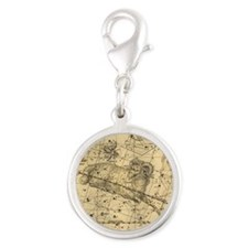 Vintage Aries Celestial Map Silver Round Charm