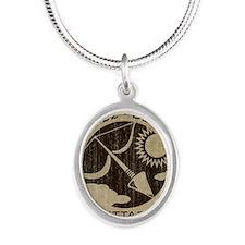 Vintage Sagittarius Silver Oval Necklace