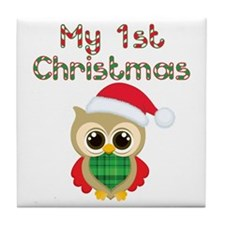 My 1st Christmas owl Tile Coaster