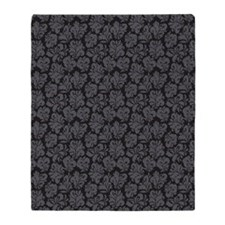 FlourishLeaves_Grey_Large Throw Blanket