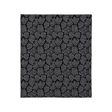 FlourishLeaves_Grey_Large Throw Blanket