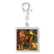 Vintage Lion Painting Silver Square Charm