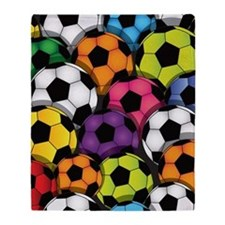 Colorful Soccer Balls Throw Blanket