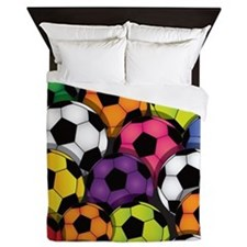 Colorful Soccer Balls Queen Duvet