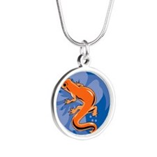 Newt Heart Pet Tag Silver Round Necklace