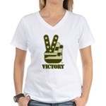 Victory Sign Women's V-Neck T-Shirt