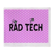 Rad tech necklace pink Throw Blanket