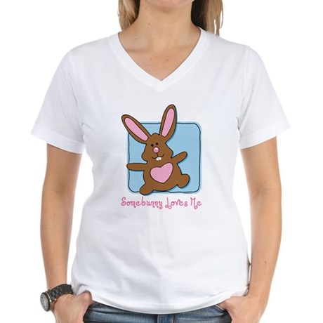 Somebunny Loves Me Women's V-Neck T-Shirt