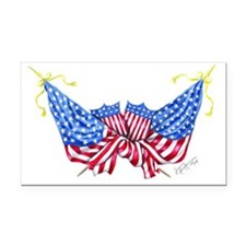 Crossed flags Rectangle Car Magnet