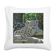 Snow Leopard Cub Square Canvas Pillow