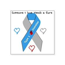 "Type 1 Diabetes Awareness R Square Sticker 3"" x 3"""