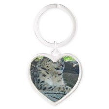 Adult Snow Leopard Heart Keychain