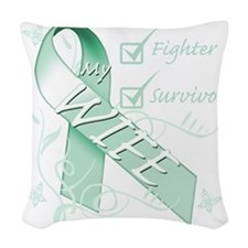 Wife  is a Fighter and Survivo Woven Throw Pillow