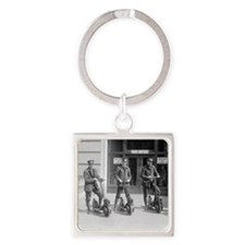 Vintage Postmen On Scooters Square Keychain