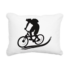 biker mtb mountain bike  Rectangular Canvas Pillow