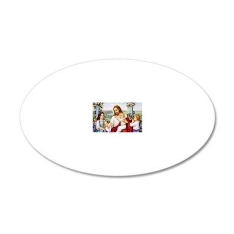 Jesus and the Children 20x12 Oval Wall Decal