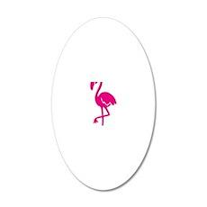 flamingo bird 20x12 Oval Wall Decal
