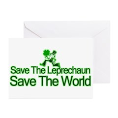 Save The Leprechaun Save The World Greeting Cards