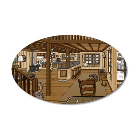 Winter Cabin 35x21 Oval Wall Decal