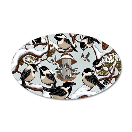 Chickadees 35x21 Oval Wall Decal