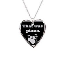Drumset That was Piano Necklace Heart Charm