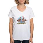 Cornish Chickens WLRed Women's V-Neck T-Shirt