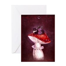 Mushroom Fairy Cat Greeting Card