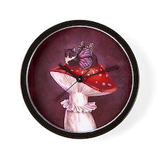 Mushroom Fairy Cat Wall Clock