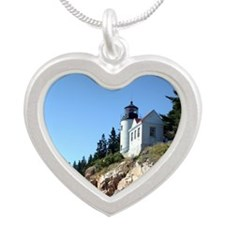 Bass Harbor Light Silver Heart Necklace