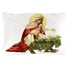 MARY AND JESUS IN THE MANGER Pillow Case