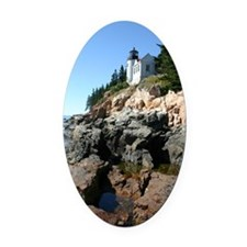 Bass Harbor Light Journal Oval Car Magnet