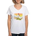 White Leghorn Chickens Women's V-Neck T-Shirt