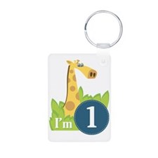 First Birthday Boy Giraffe Keychains