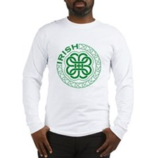 Irish Knot Work Shamrock Long Sleeve T-Shirt