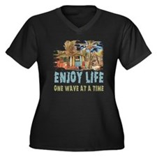 Enjoy Life Women's Plus Size Dark V-Neck T-Shirt