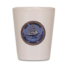 uss bainbridge patch transparent Shot Glass
