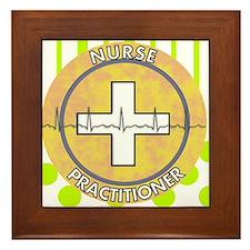 Nurse Practitioner lime and polka dots Framed Tile