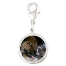 Doggie Kisses Silver Round Charm