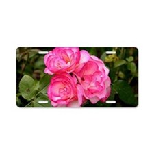 Rose, pink and white Aluminum License Plate