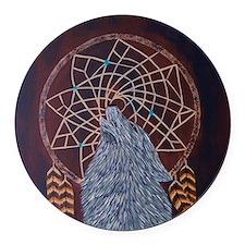 Wolf with Dreamcatcher Round Car Magnet