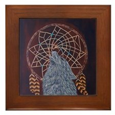 Wolf with Dreamcatcher Framed Tile