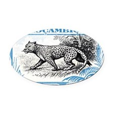 1930's Mozambique Leopard Stamp Bl Oval Car Magnet