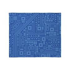 Blue Circuit Board Throw Blanket