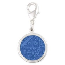 Blue Circuit Board Silver Round Charm