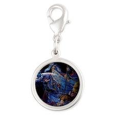 Wizzard & Dragon Silver Round Charm