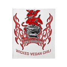 Wicked Vegan Chili logo for dark ite Throw Blanket