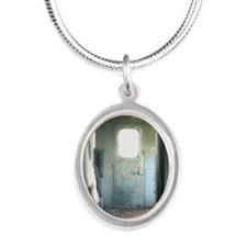 Inside Rustic Caboose Silver Oval Necklace