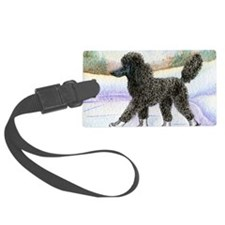 Black poodle takes to the ice Luggage Tag