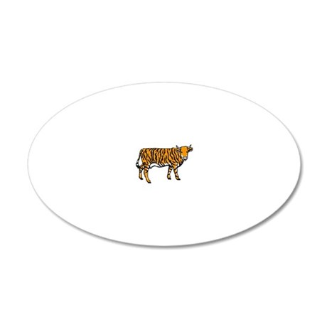 Tiger cow 20x12 Oval Wall Decal