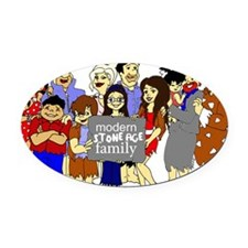 ModernStoneageFamily Oval Car Magnet
